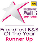 AA Friendliest B&B Of The Year Award - Runner Up
