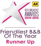 AA Friendliest B&B Of The Year Award - Runner Up